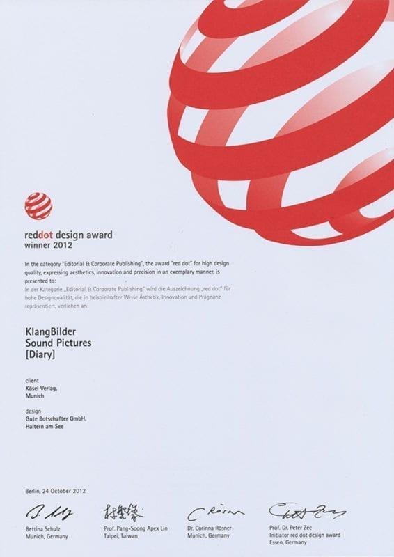 Urkunde reddot design award